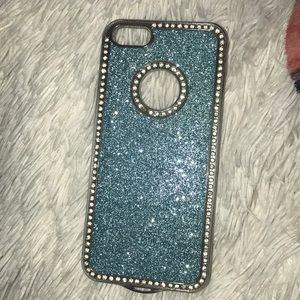 Blue glitter and diamond iPhone 5 case